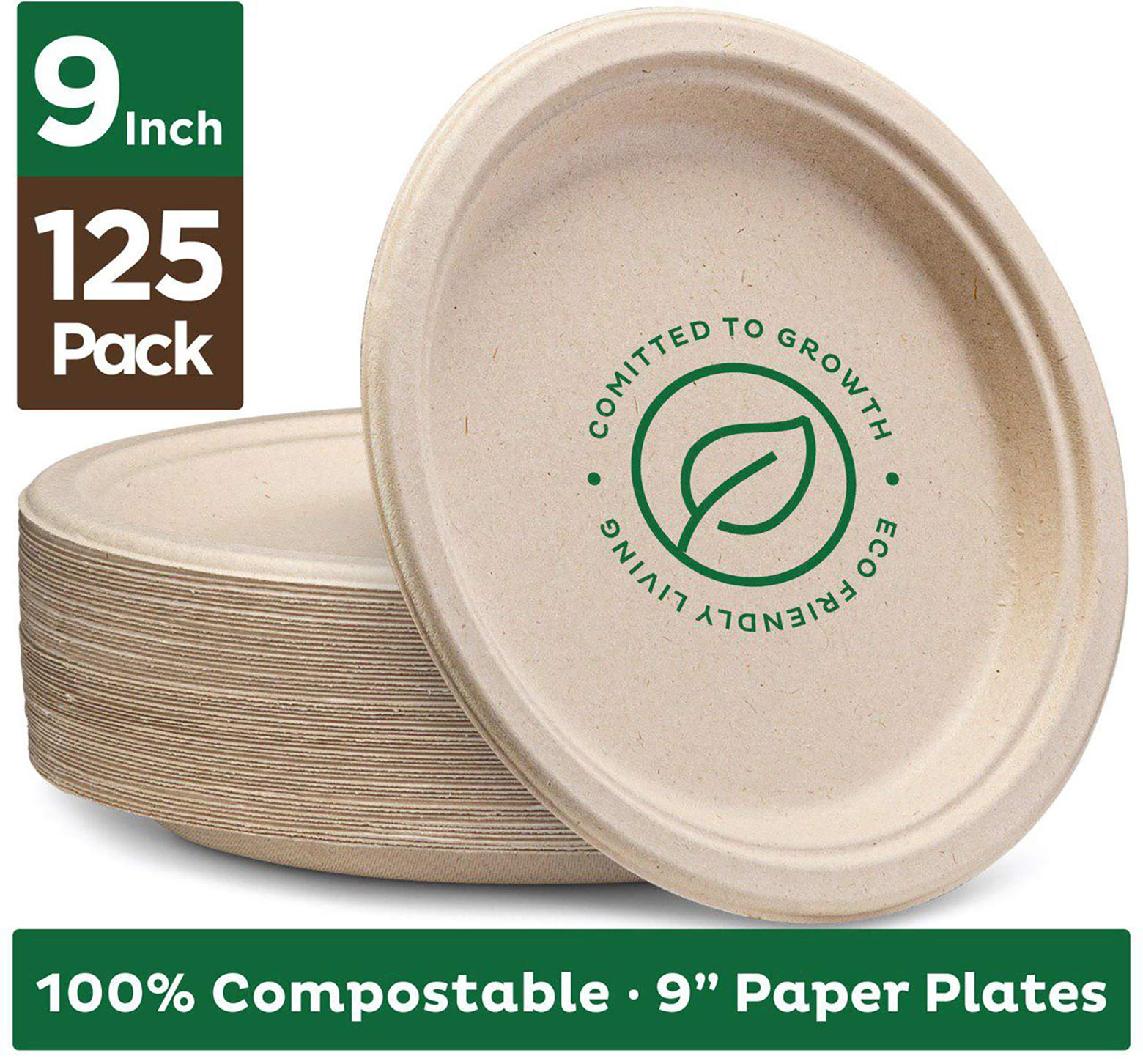 Stack Man 100% Compostable 9'' Paper Plates [125-Pack] Heavy-Duty Quality Natural Disposable Bagasse, Eco-Friendly Made of Sugar Cane Fibers, 9 inch, Brown by Stack Man
