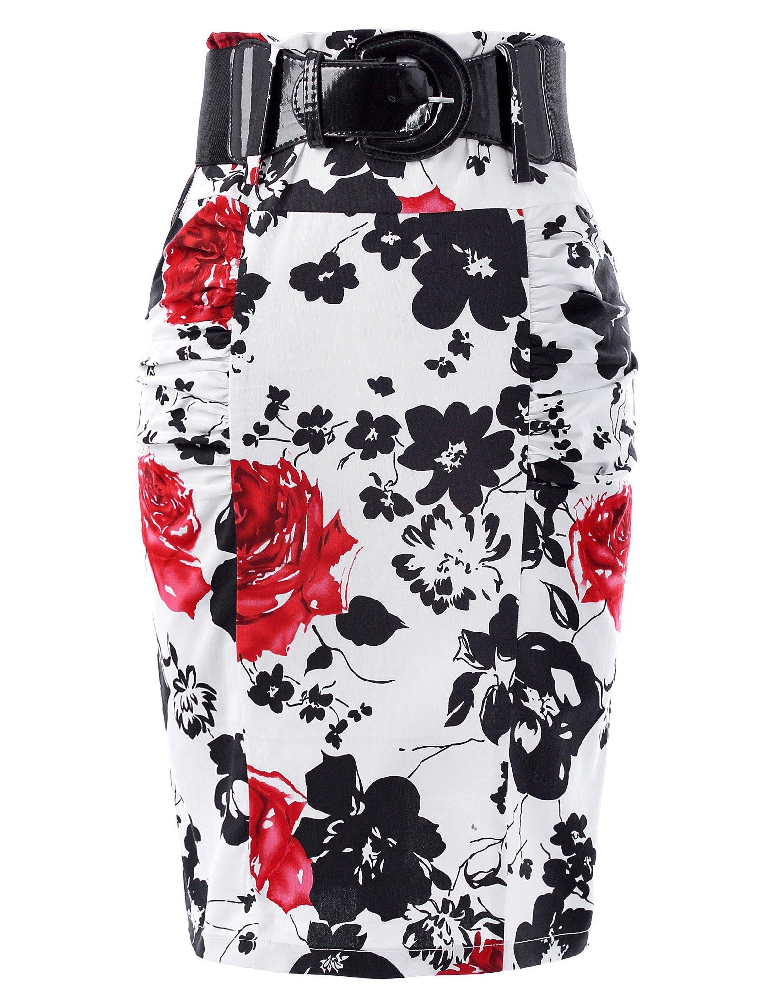 Belle Poque Floral Vintage Pencil Skirts Women Pleated Retro Skirts L KK610-2