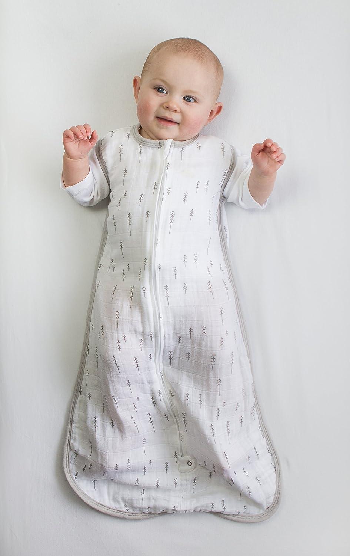 Petit 0-6 Mois Sapins Argent/és Amazing Baby by SwaddleDesigns Gigoteuse en Mousseline pour B/éb/é avec Fermeture /Éclair /à Double Sens Gris Argent