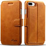 iPhone 7 Plus Case, iPhone 7 Plus Wallet Case, iPhone 7 Plus Leather Case-Pasonomi [Slim Fit] Vintage Flip Case Cover with Stand Function & Credit Card Slots for iPhone 7 Plus (Light Brown)