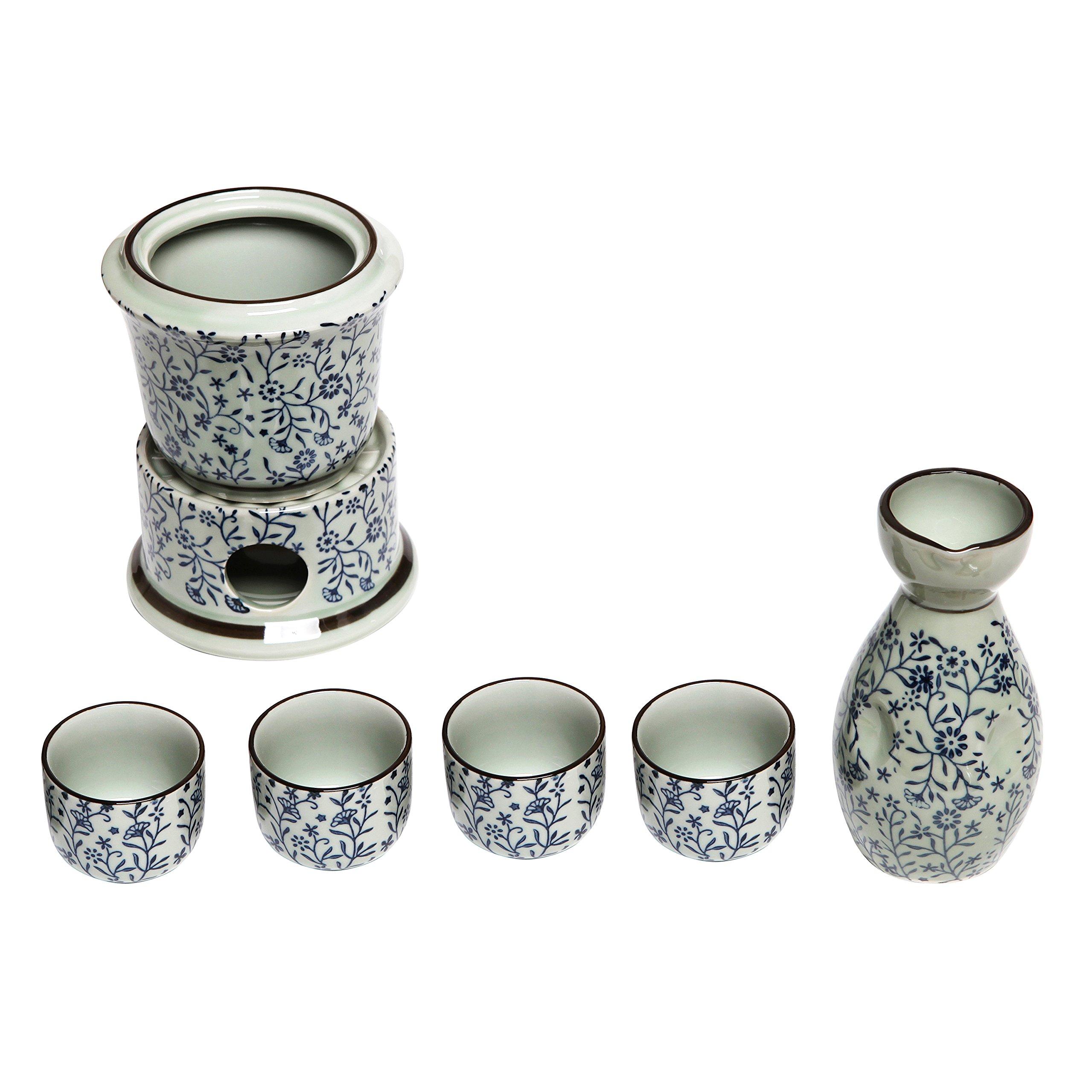 Exquisite Ceramic Blue Flowers Japanese Sake Set w/ 4 Shot Glass / Cups, Serving Carafe & Warmer Bowl