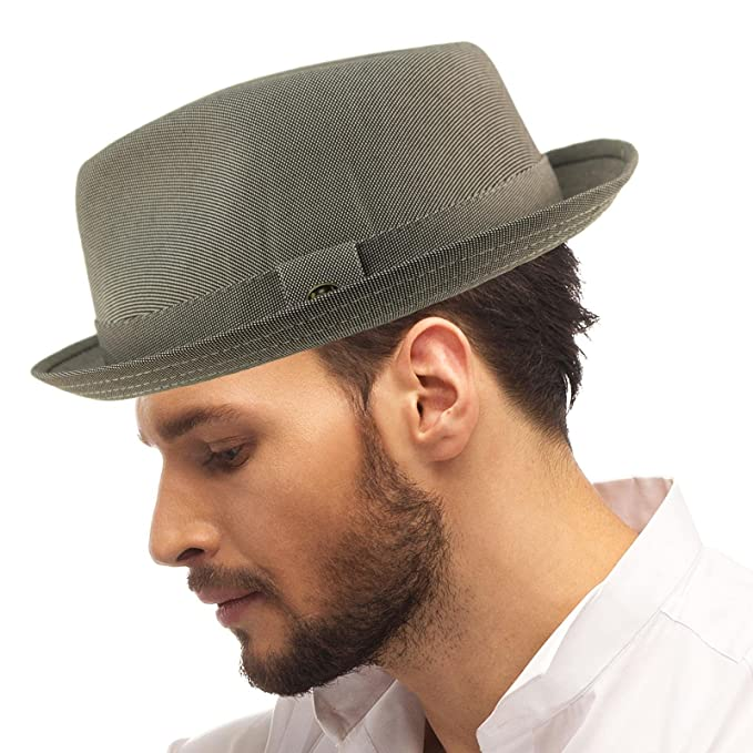 b97870d8600 SK Hat shop Men s Fancy Suit Rayon Fabric Derby Fedora stingy Curled Brim  Hat ...