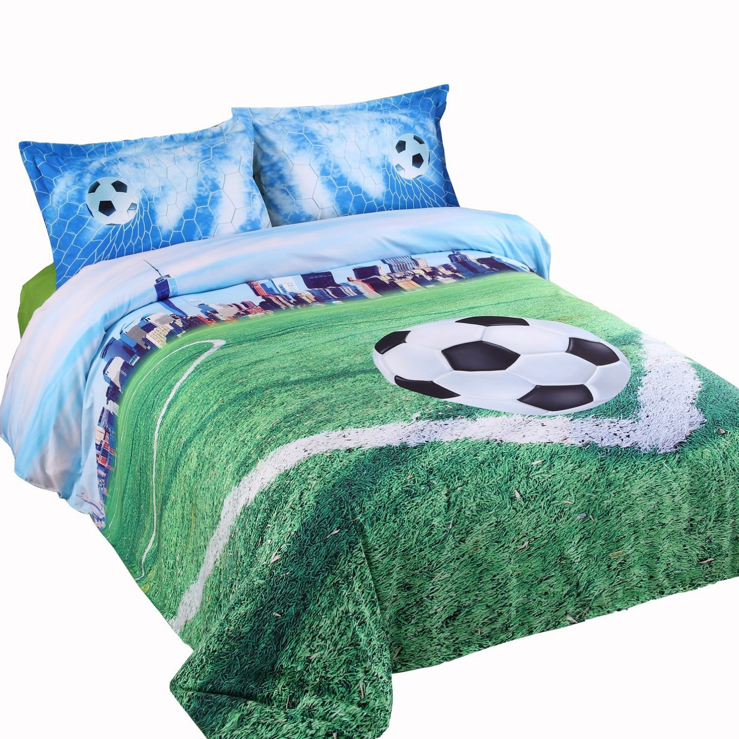 Alicemall 3D Soccer Field and City Scenery Duvet Cover Set 4 Pieces Cotton and Tencel Blended Unique Cool Sports Bedding Set, Full Size College Bedding for Girls and Boys (Full, Light Blue)