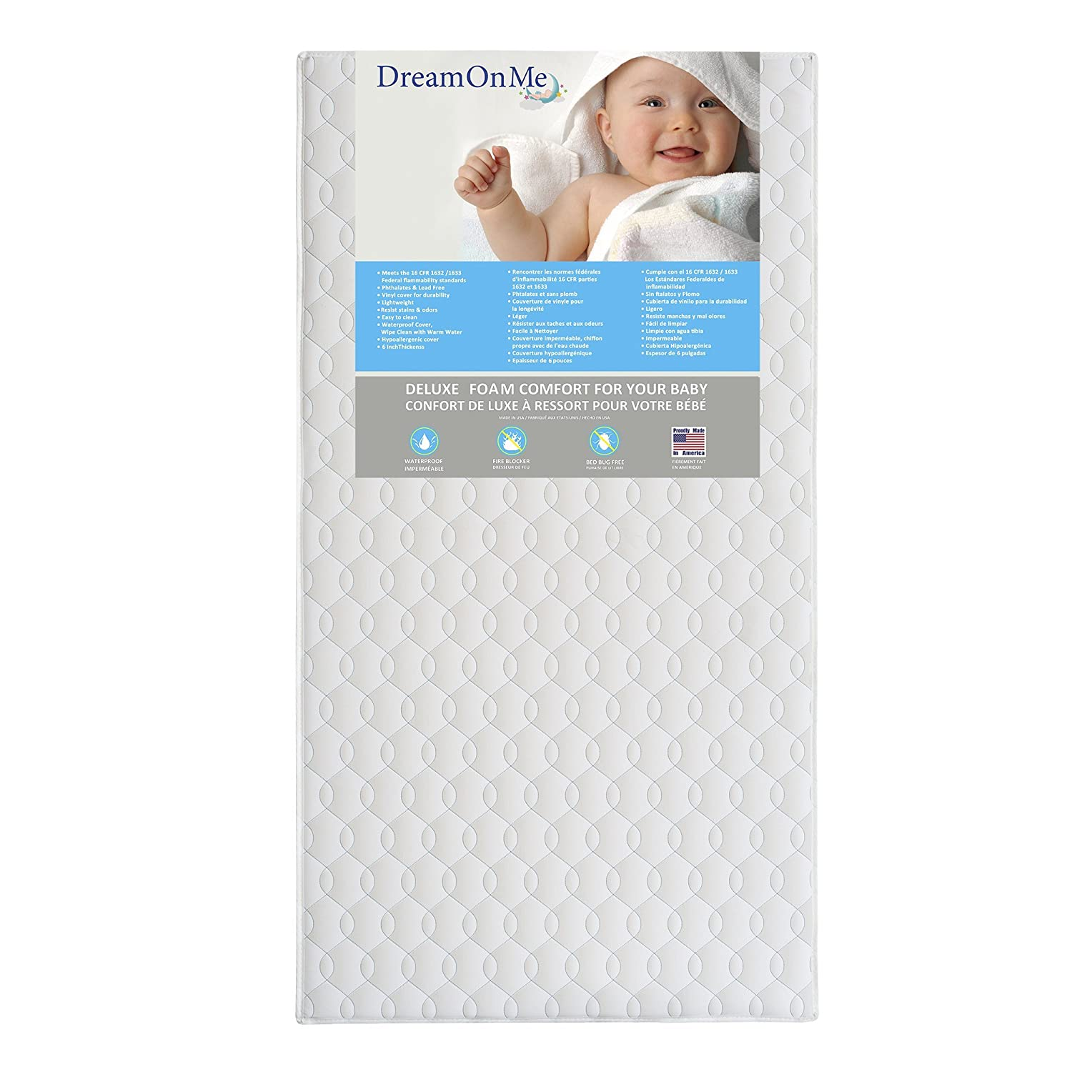 Dream On Me Full Size Firm Foam Crib and Toddler Bed Mattress, Carousel, 6-Inch 6E6CL