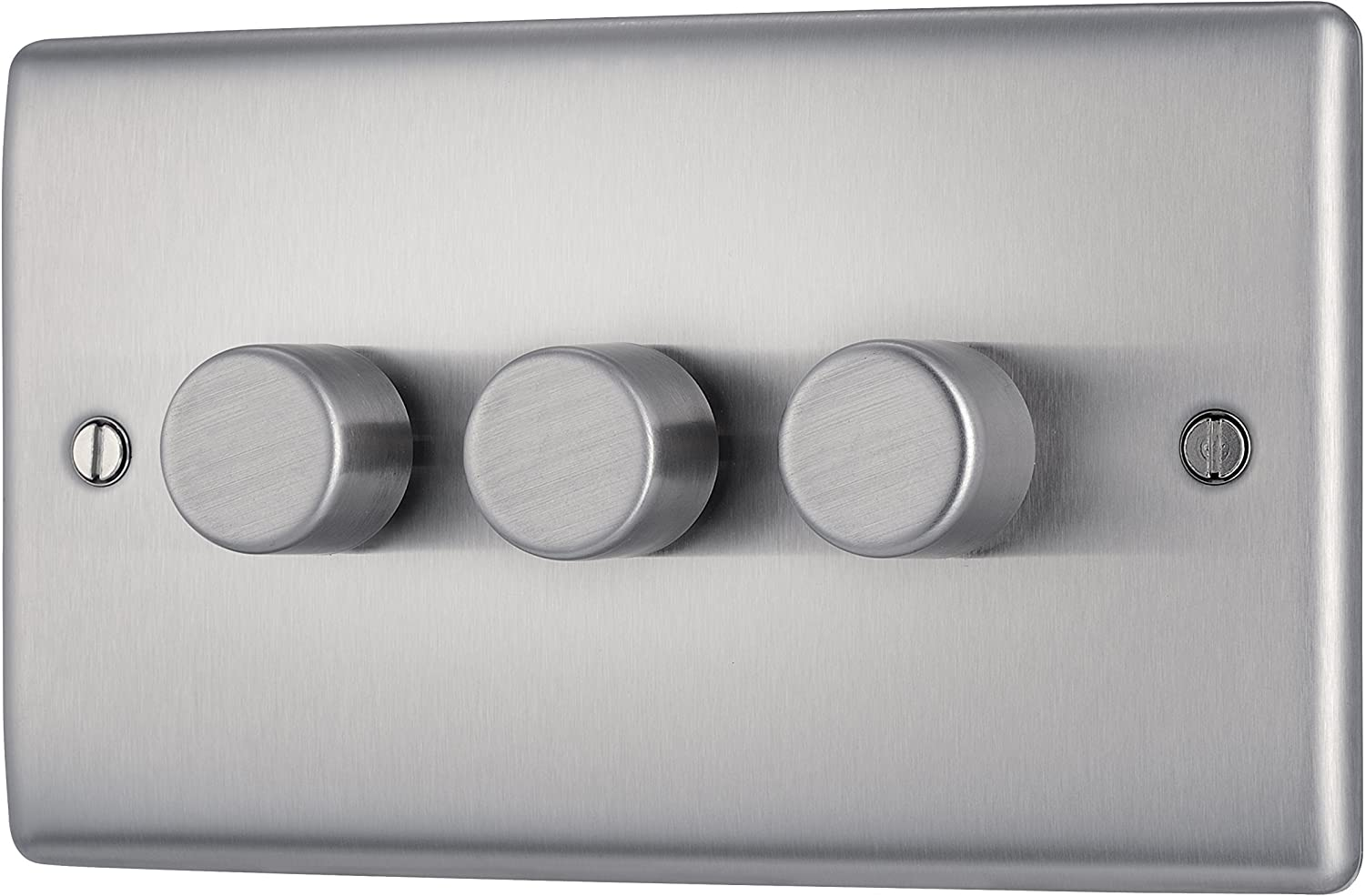 BG Nexus Brushed Stainless Steel Dimmer Switch 2way 400watts Push on//off