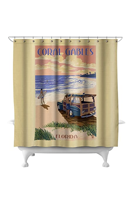 Coral Gables, Florida   Woody On The Beach (71x74 Polyester Shower Curtain)