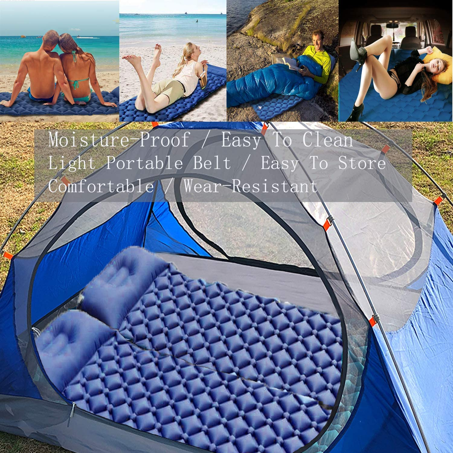 Inflatable /& Compact Camp Sleep Pad with Pillow for Backpacking Traveling Mat Hiking Air Mattress Lightweight AOCKS Camping Sleeping Pad