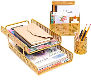 Gold Chevron Desk Organizer and Accessories Set (3 Pieces)