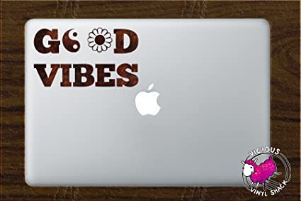 b43a45510726a Good Vibes Peace Sign Daisy Quote (DARK WOOD GRAIN) Vinyl Decal Stickers  for MacBook