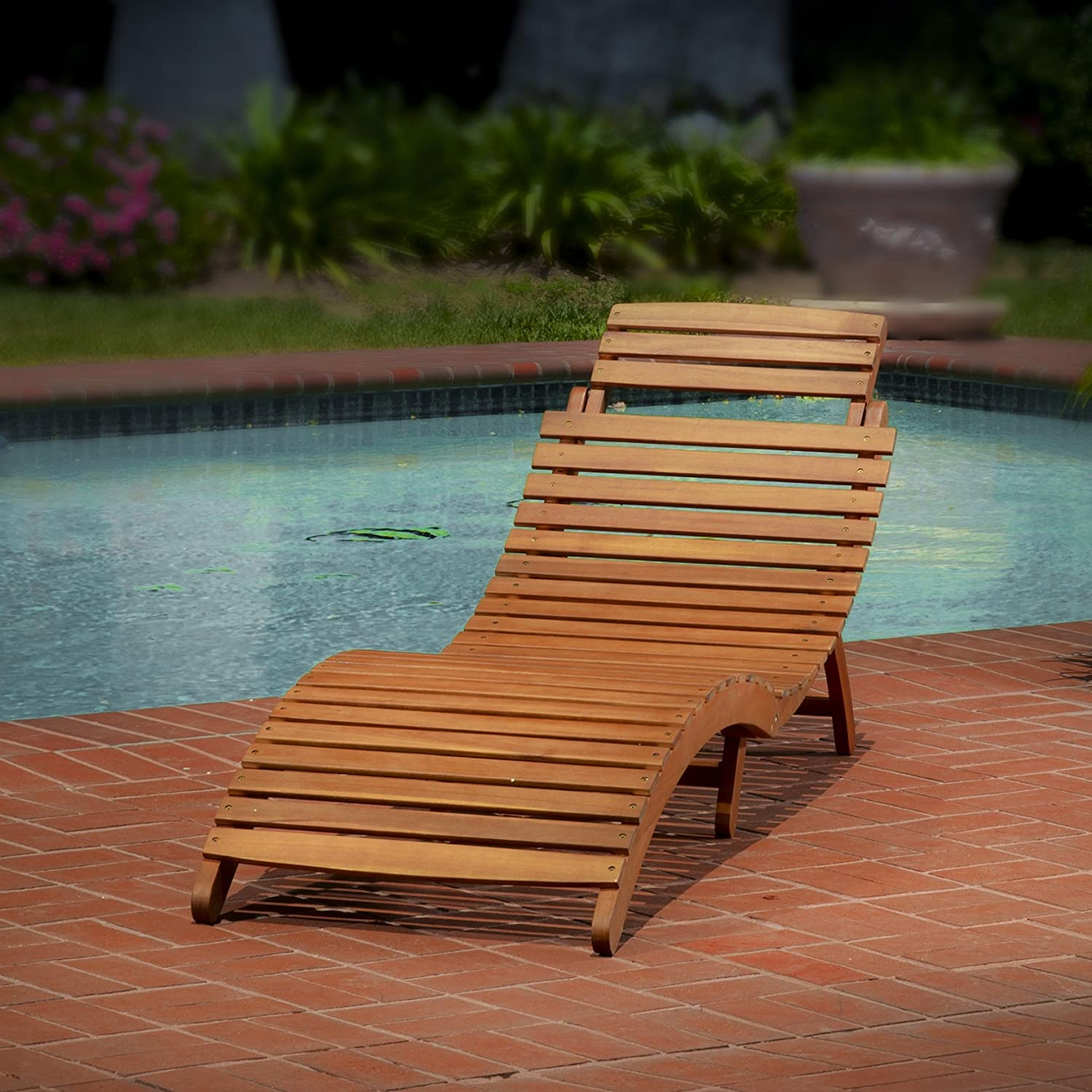Amazon Best Selling Del Rio Wood Outdoor Chaise Lounge Patio