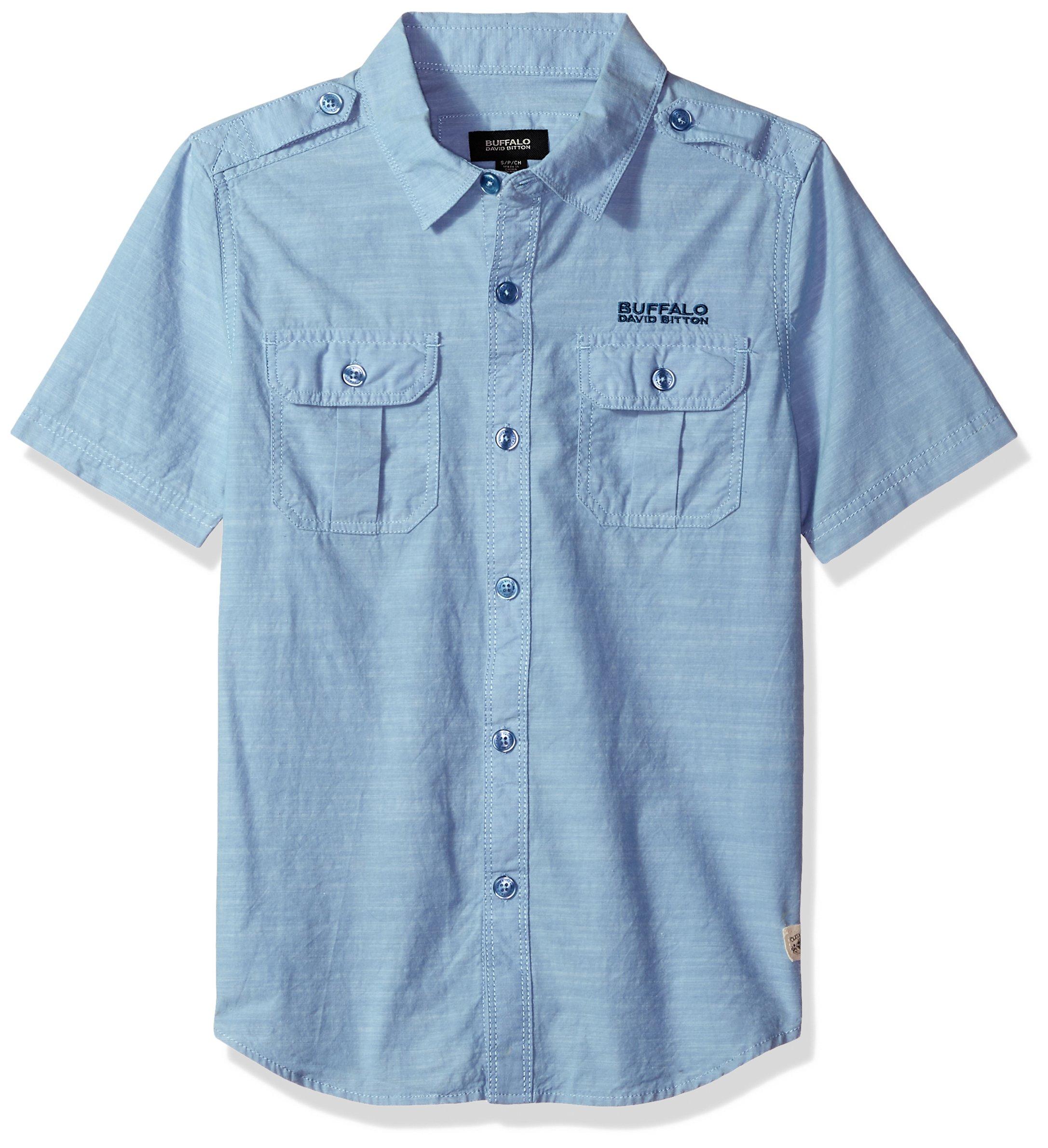 Buffalo by David Bitton Boys' Big Short Sleeve Button Down Shirt, Selid Federal Blue Heather, Small (8)