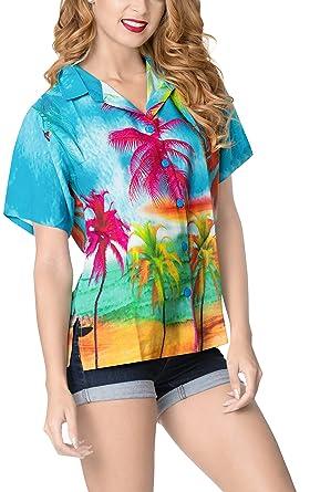 995907b7 LA LEELA Women Beachwear Hawaiian Button Down Shirt Blue_6021 S - US 34-36D