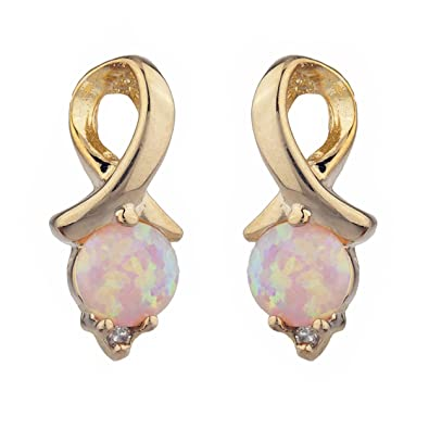 Simulated Opal Round Stud Earrings 14Kt Yellow Gold & Sterling Silver F6564rfhF