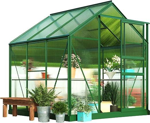 Invernadero grande de policarbonato para jardín, de Growhouse, con pasillo central, marco reforzado a prueba de