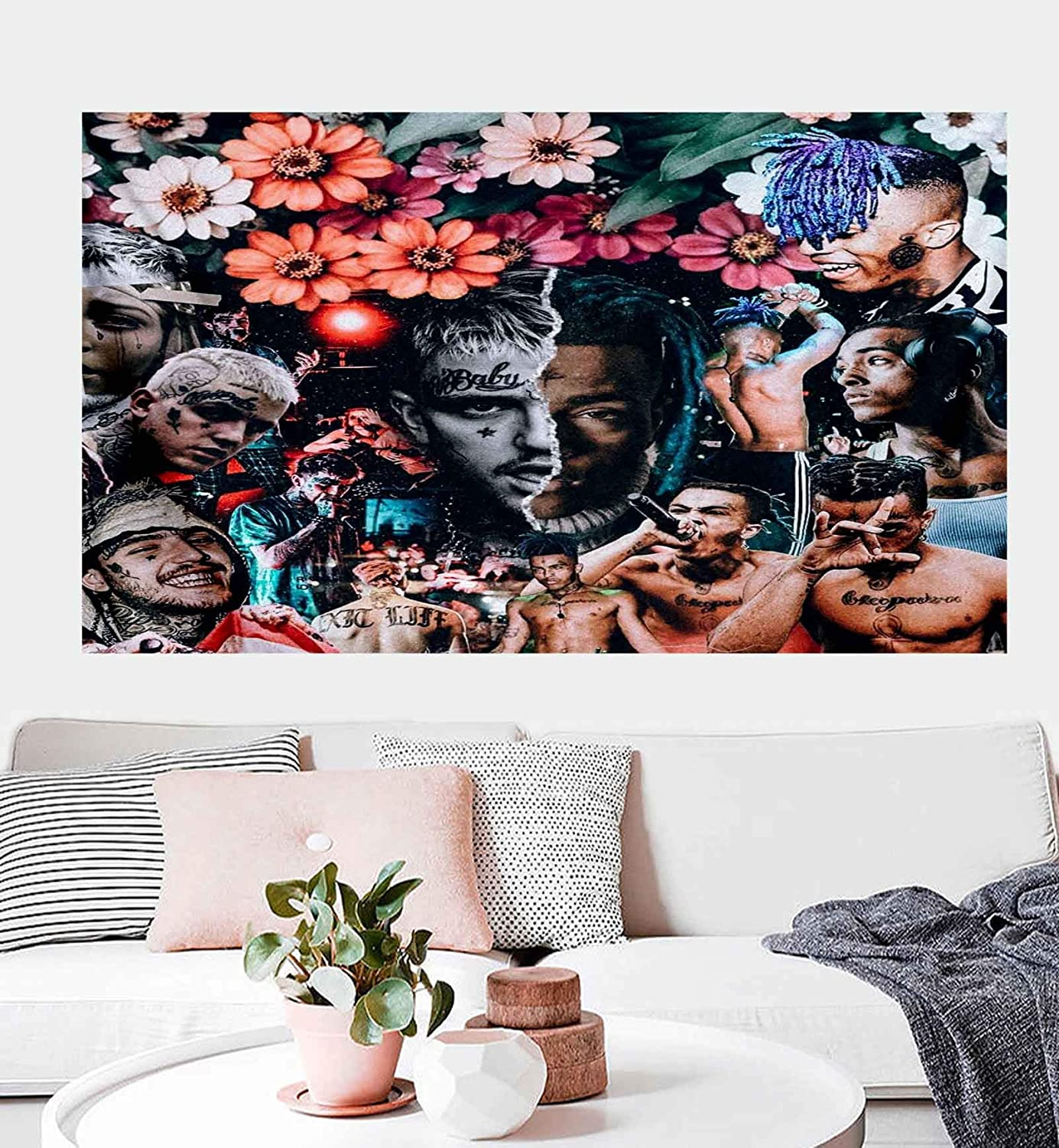 Lil Rap Peep Custom Tapestry Wall Hanging Hip-Hop Party Tapestry Home Decorations for Living Room Bedroom Dorm Decor (50 x 60 inches)