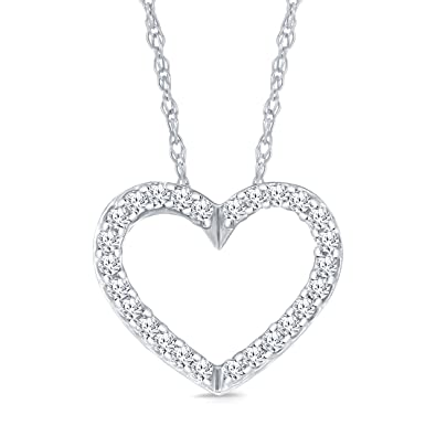 Amazon la joya mothers day 110ct 10k white gold heart diamond la joya mothers day 110ct 10k white gold heart diamond pendant necklace aloadofball Choice Image