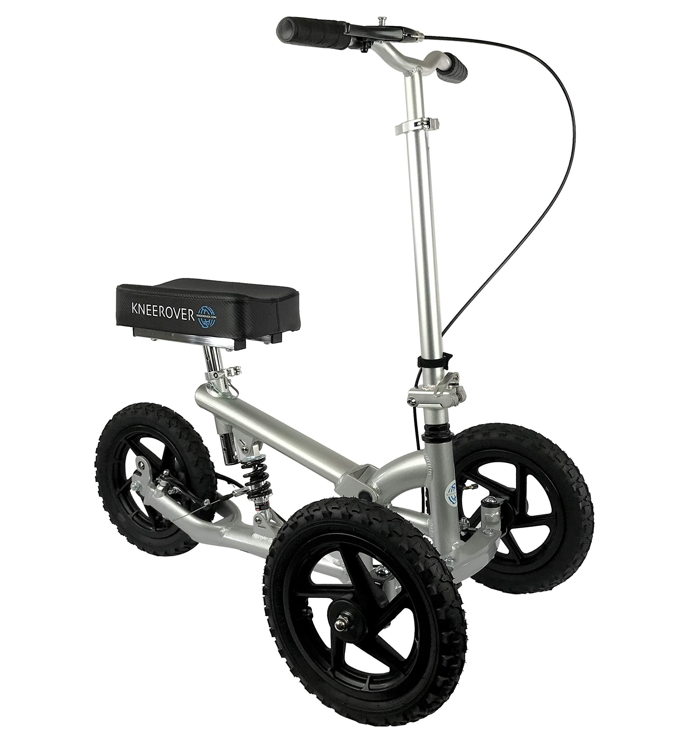 KneeRover PRO All Terrain Knee Walker Aluminum Scooter with Shock Absorber - Silver by KneeRover