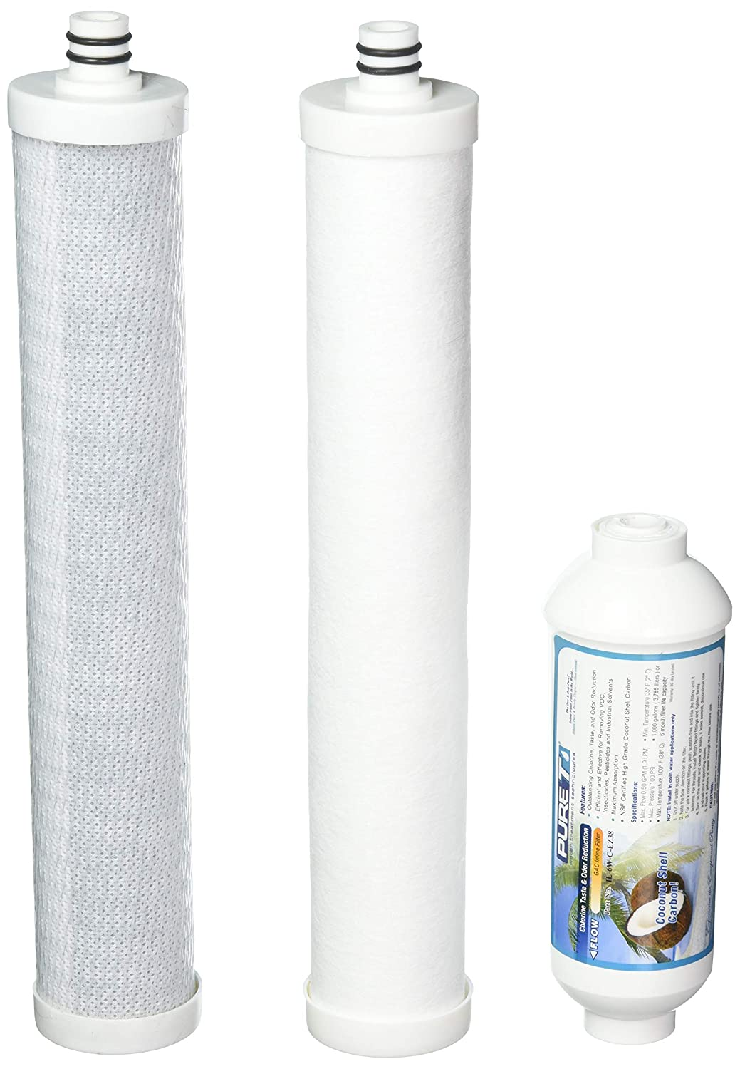 Culligan AC-30 Compatible Filters 3 Filter Set KWAC-30 PureT USA Brand Reverse Osmosis Drinking Water System Replacement Cartridges