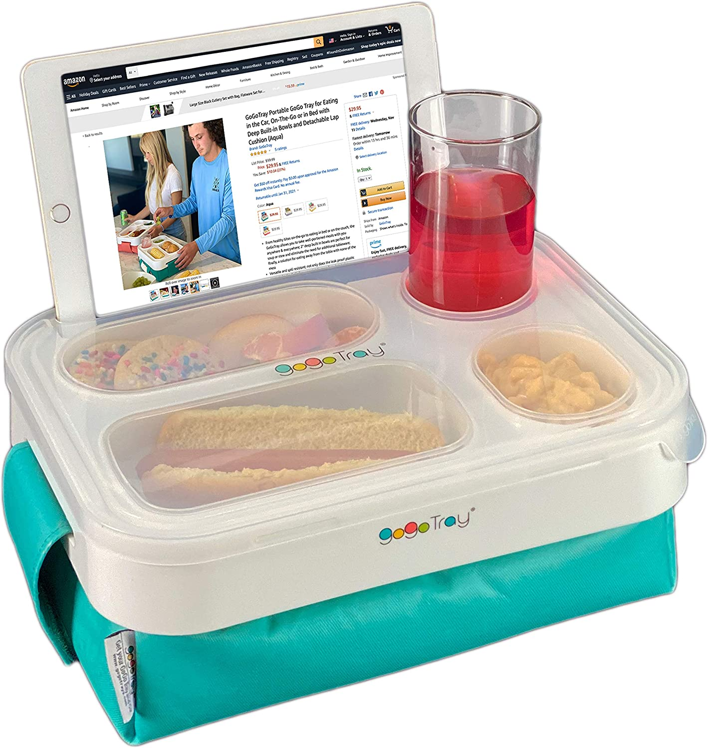 GoGoTray Portable GoGo Tray for Eating in the Car, On-The-Go or in Bed with Deep Built-in Bowls and Detachable Lap Cushion (Aqua)