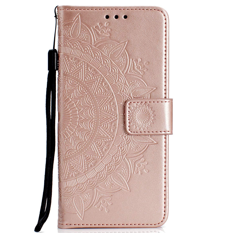 NEXCURIO Huawei Y5 2018 Hülle Leder, Handyhülle Tasche Leder Flip Case Brieftasche Etui mit Kartenfach Stoßfest Kratzfest Schutzhülle für Huawei Y5 (2018) - NEHHA11360 Grau