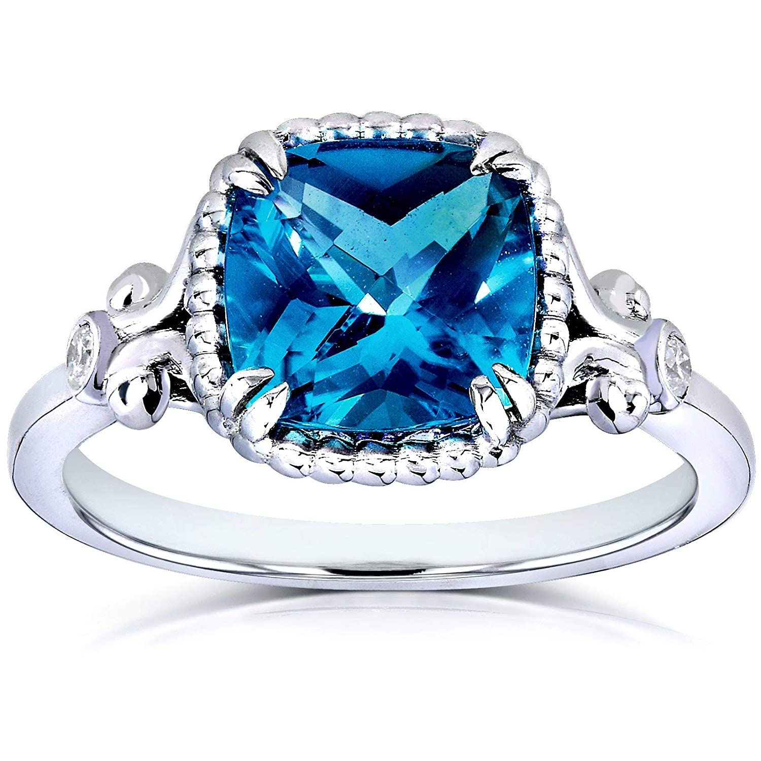 Kobelli Cushion Cut London Blue Topaz And Diamond Engagement Ring 2 1 3 Carat Ctw In Silver With 14k Plated