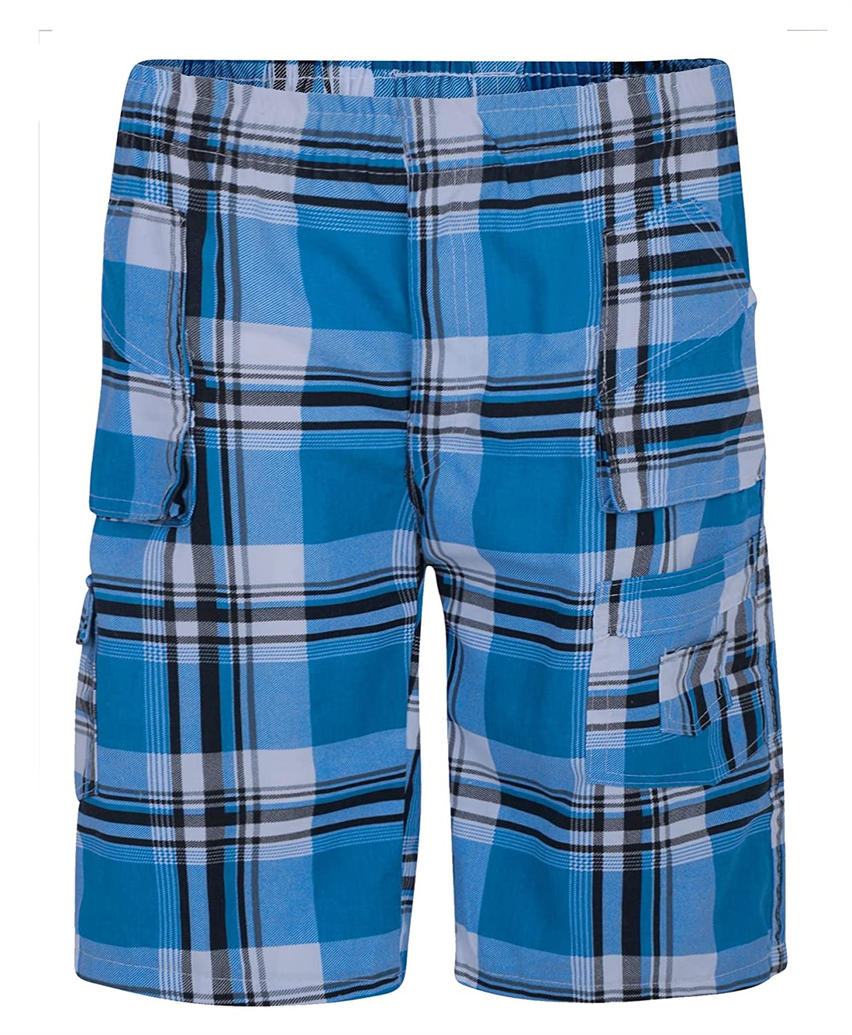 LotMart Kids Tartan Print Multipocket Shorts Check Cargo Bottoms Half Pants and Free Gift Promotional Pen With Every parcel