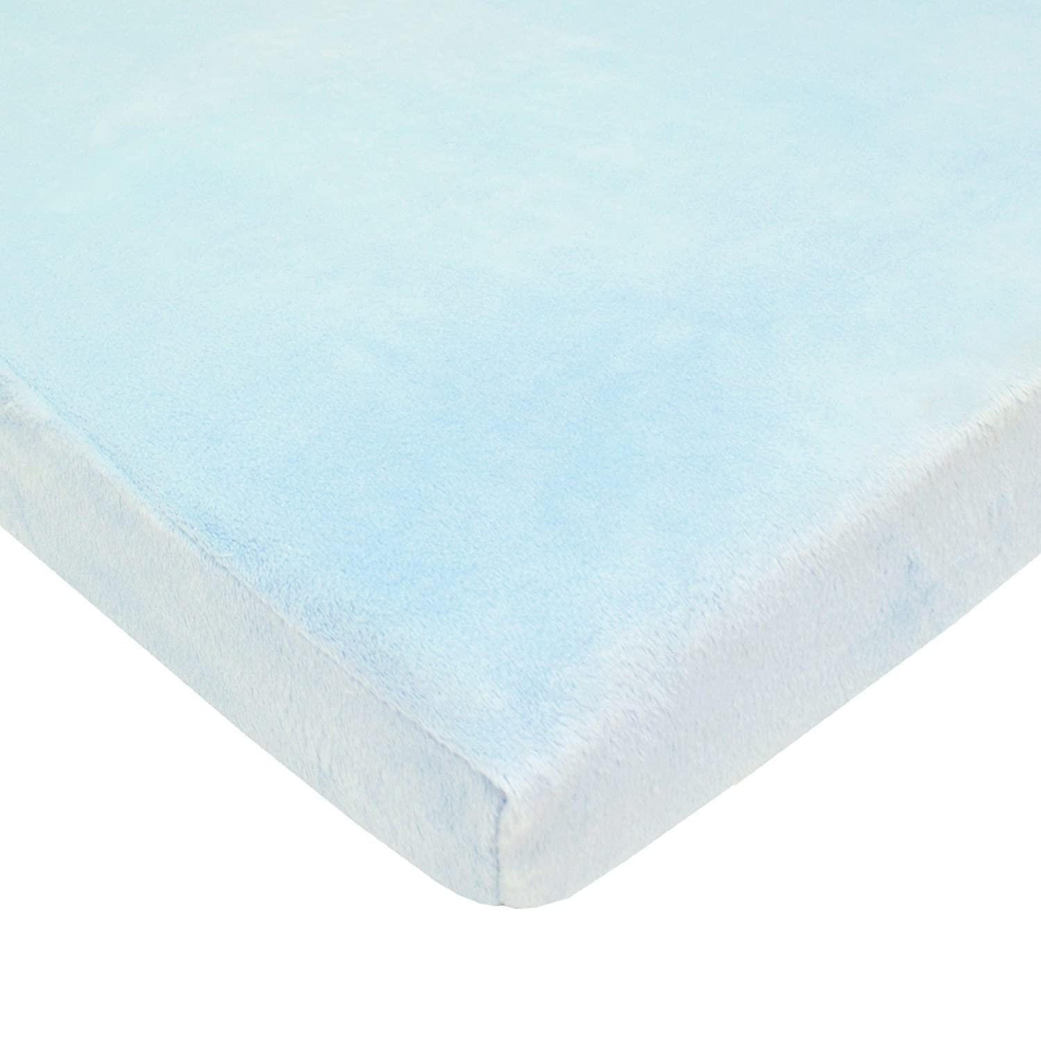 American Baby Company Heavenly Soft Chenille Fitted Portable/Mini-Crib Sheet, Blue, for Boys and Girls