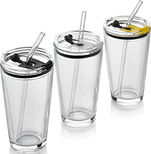 Classic Premium Beer Pint Glasses With Lid 16 Ounce - Highball Cocktail Mixing Glass – Perfect for Cold Beverages, Soda, Water - Used in Bar, Restaurant, Pub (PACK OF 3)
