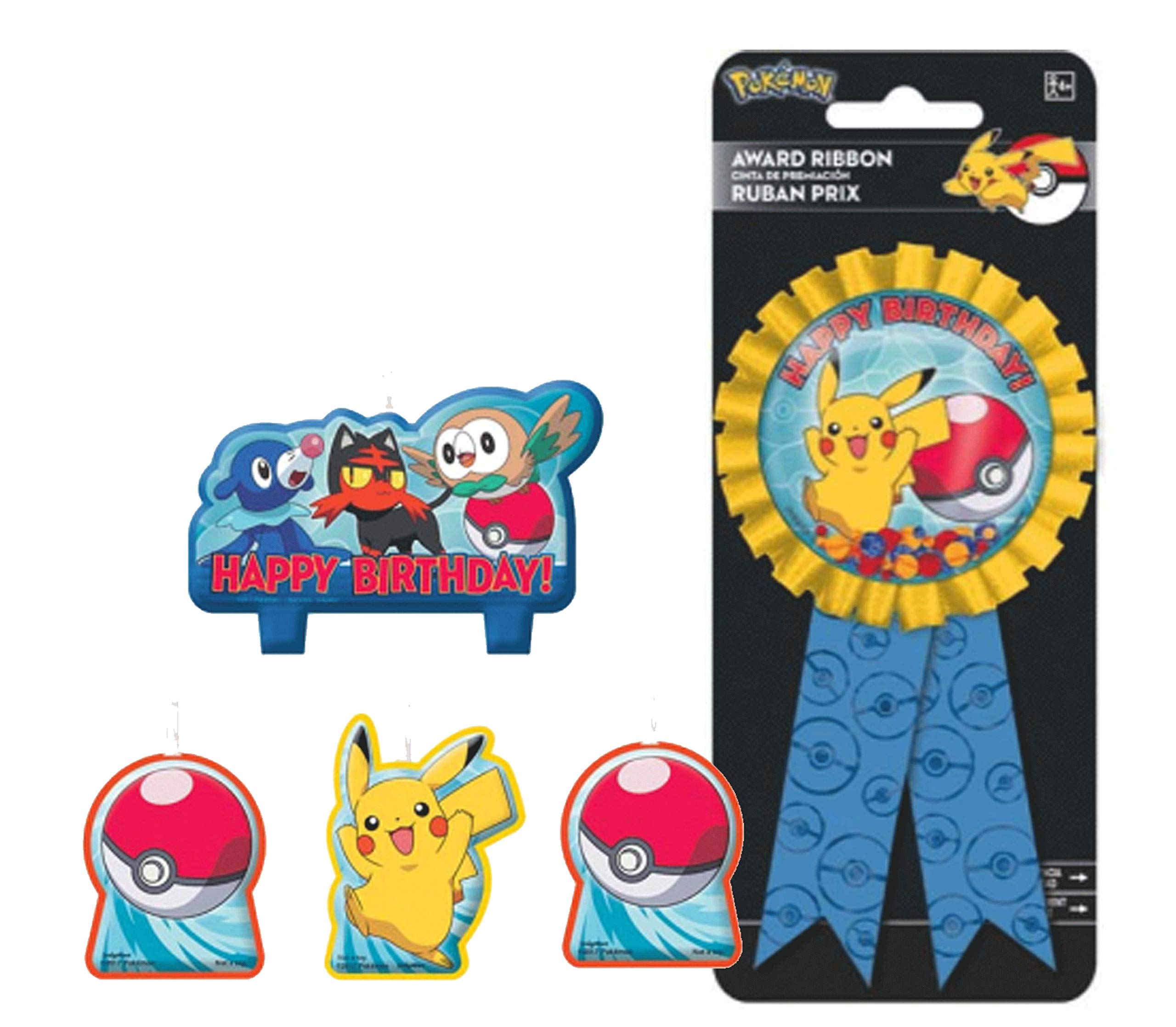 Pikachu Birthday Candles & Confetti Pouch Birthday Ribbon for Guest of Honor!