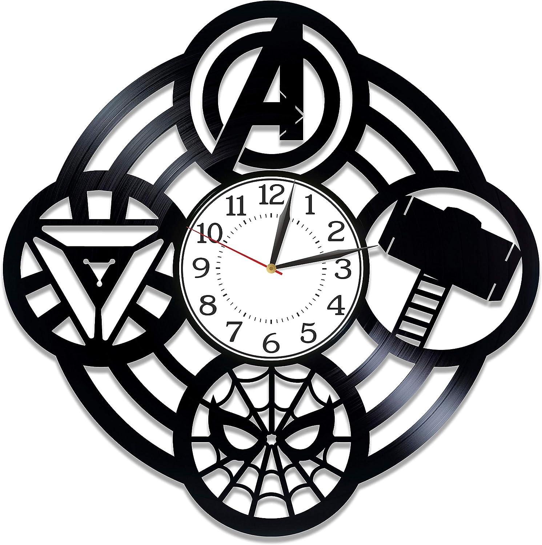 Kovides Superhero Film Birthday Gift Idea for Boy Marvel Comics Handmade Clock Avengers Vinyl Clock 12 Inch for Fan Movie Original Home Decor Avengers Vinyl Record Wall Clock