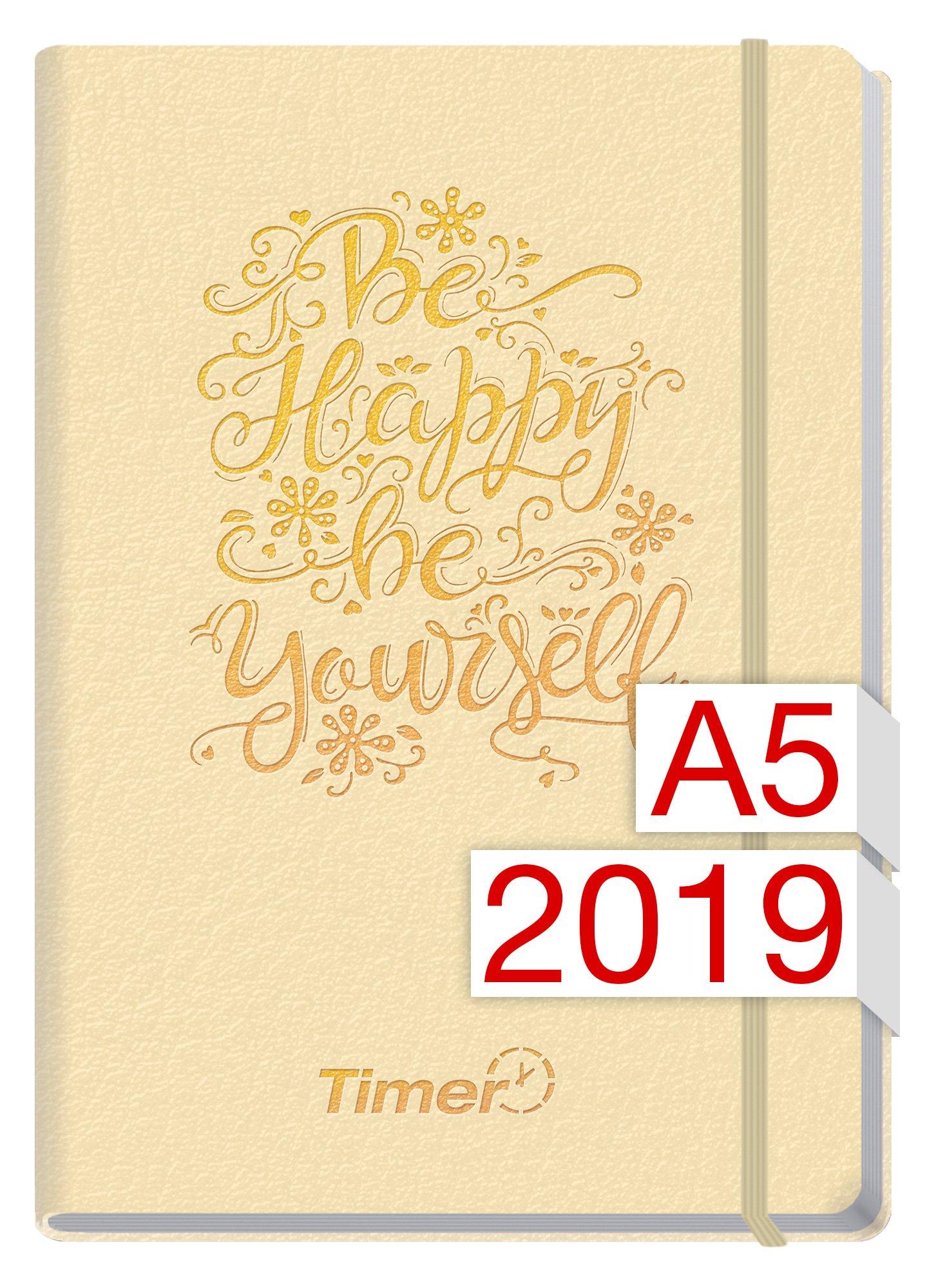 Chäff-Timer Premium A5 Kalender 2019 [Champagner] 12 Monate Jan-Dez 2019 - Gummiband, Einstecktasche - Terminkalender mit Wochenplaner - Organizer - Wochenkalender Kalender – 1. Mai 2018 Häfft Häfft-Verlag 3866794525 Buch-Kalender
