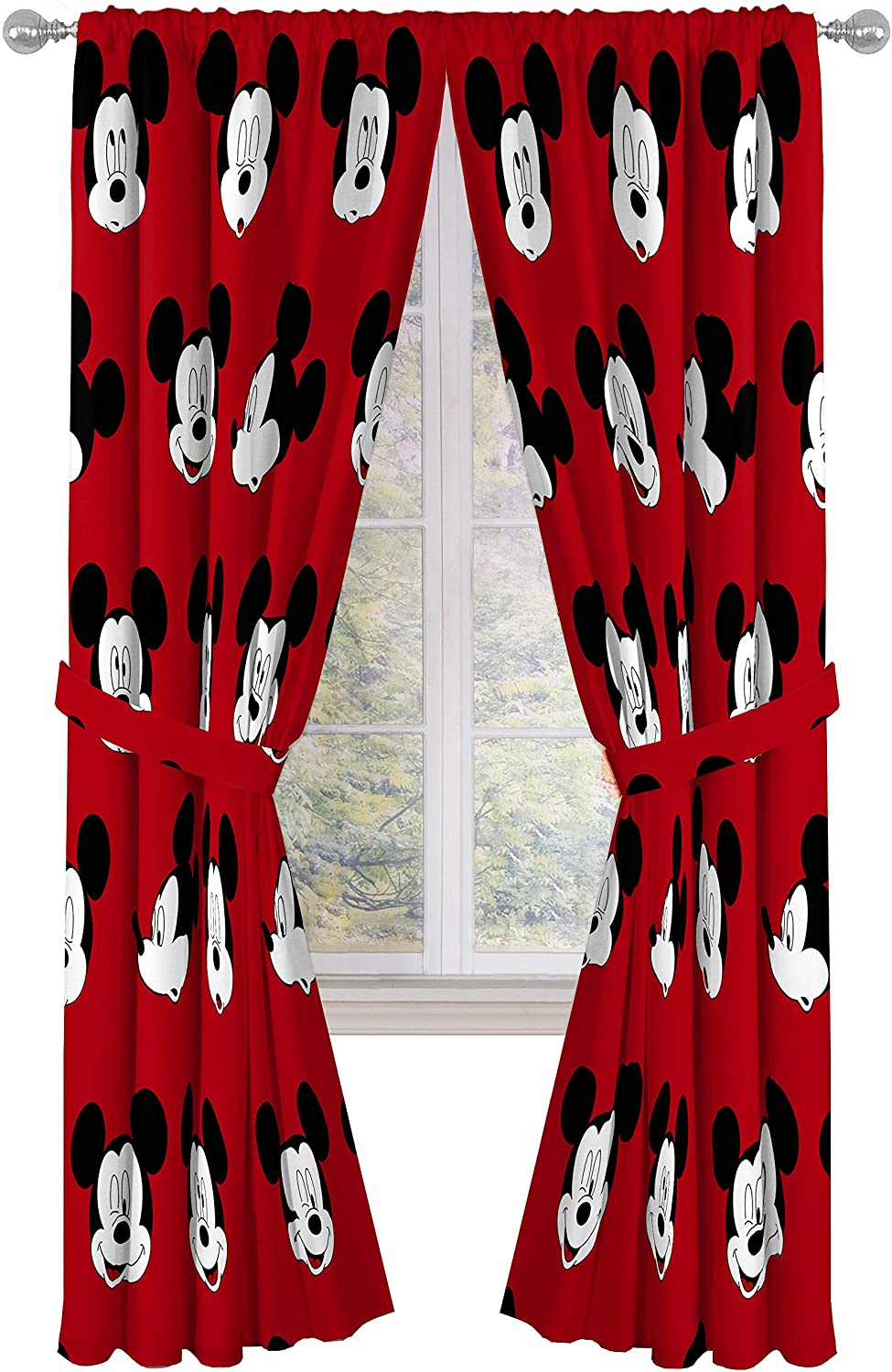 "Jay Franco Disney Mickey Mouse Cute Faces 84"" inch Drapes 4 Piece Set - Beautiful Room Décor & Easy Set up - Window Curtains Include 2 Panels & 2 Tiebacks (Official Disney Product)"