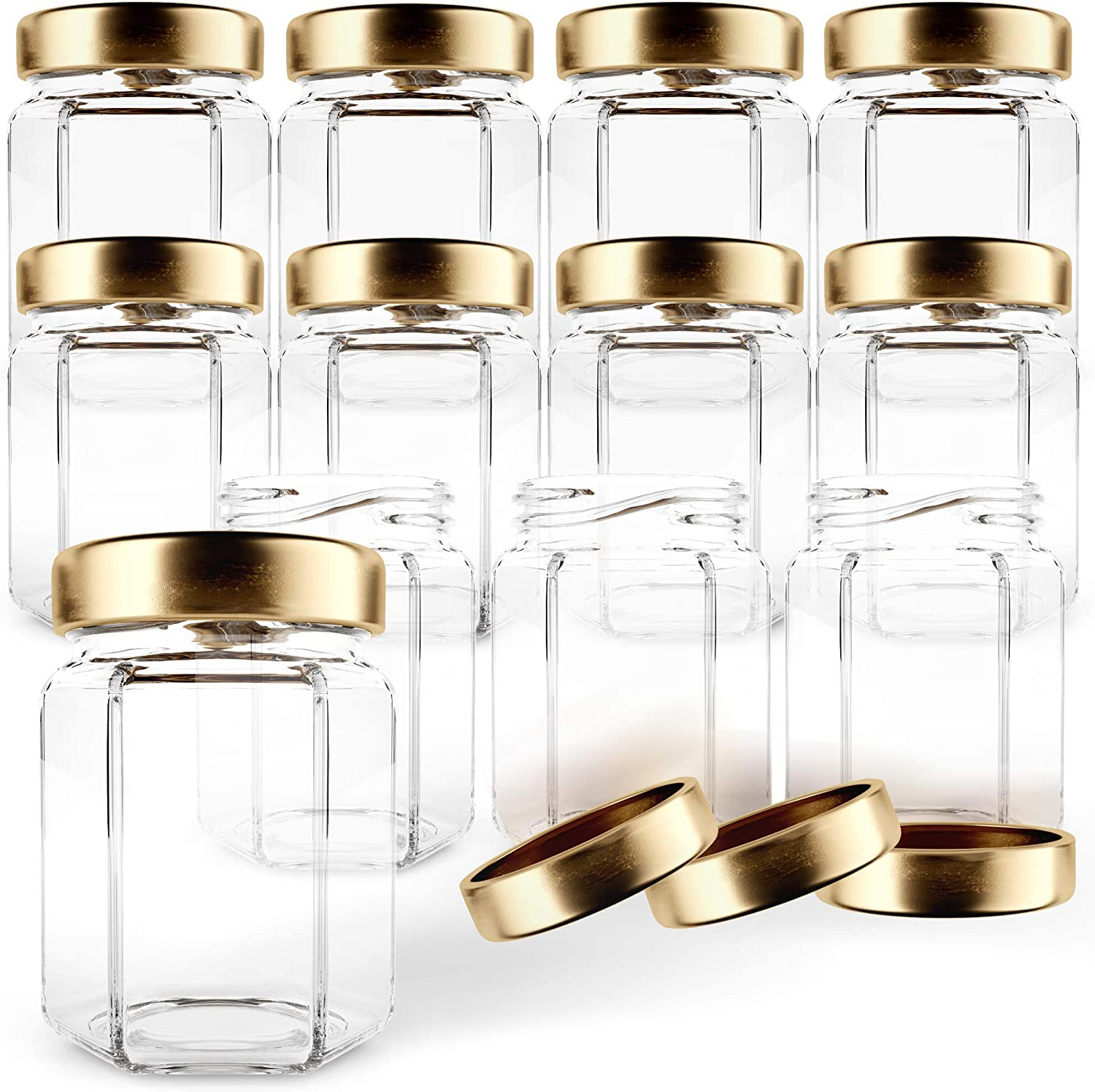 Gojars Hexagon Glass Jars 3oz Premium Food-grade. Mini Jars With Lids For Gifts, Wedding Favors, Honey, Jams And More. (12, 3oz)