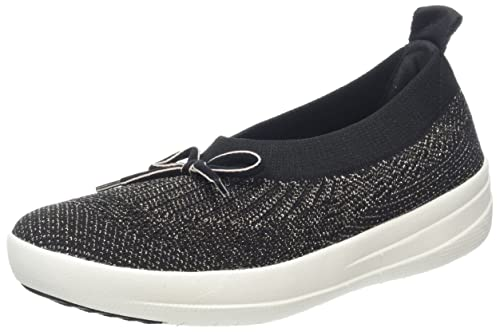 Fitflop Women Uberknit Slip on Ballerina with Bow Closed Toe Ballet Flats