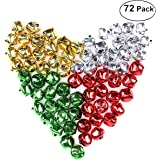 Unomor Christmas Bells New Years Festival Decor DIY your own garland & gifts Craft for Christmas Holidays with Gold, Silver, Red and Green Colors, 3⁄4'' (72PCS)