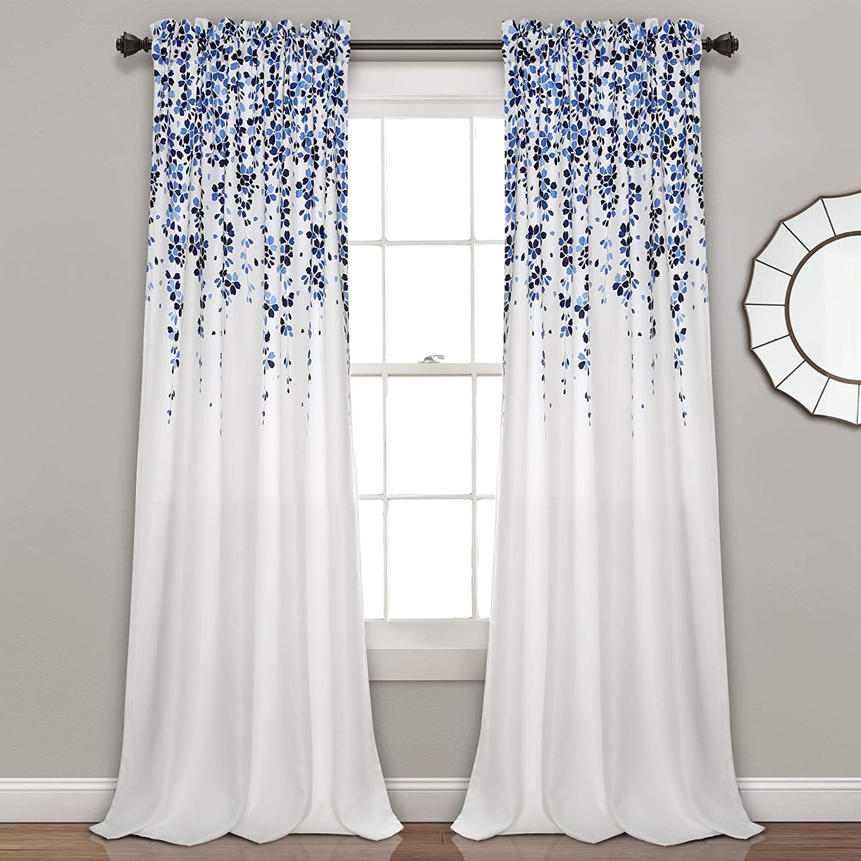 "Lush Decor Weeping Flowers Curtains Room Darkening Window Panel Set (Pair), 95"" x 52"", Navy & Blue, Blue"