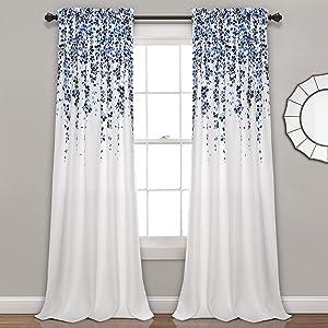 "Lush Decor Weeping Flowers Curtains Navy and Blue Room Darkening Window Panel Set (Pair), 84"" x 52"", Navy & Blue"