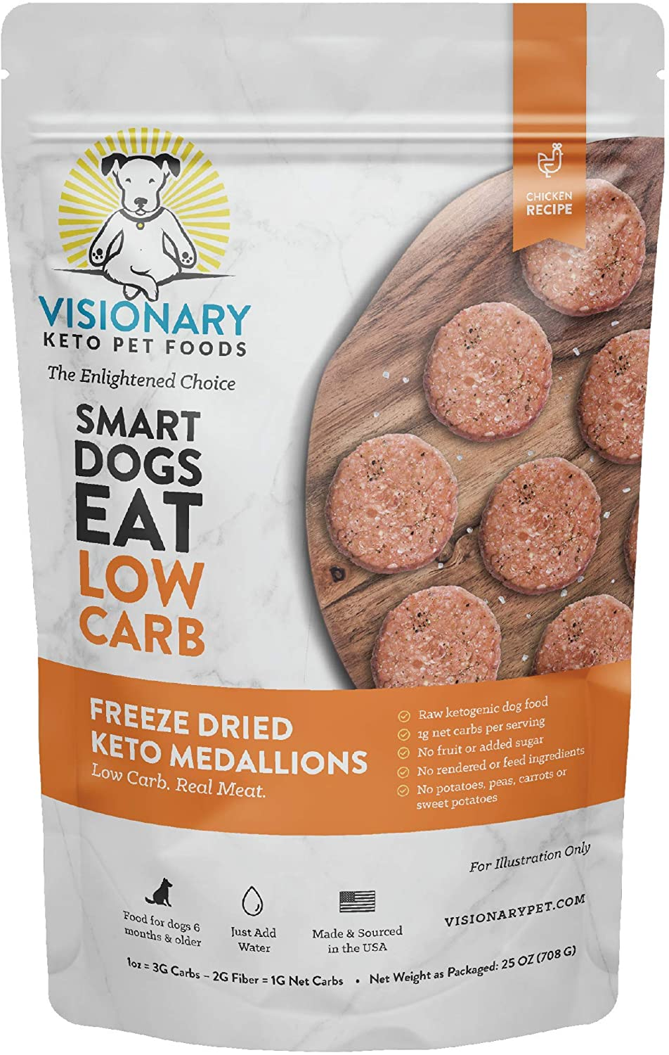 Freeze Dried Dog Food by Visionary Pet | Low Carb Keto Dog Food | Human-Grade Ingredients | Natural Chicken Flavor | No Rendered/Feed Ingredients | Natural Dog Food for Lifelong Health (25oz)
