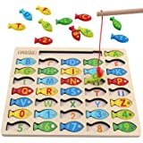 Magnetic Wooden Fishing Game Toy for Toddlers, Alphabet Fish Catching Counting Games Puzzle with Numbers and Letters, Prescho