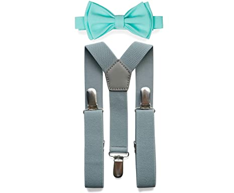 5be705691a4e Amazon.com: Light Grey Suspenders Bow Tie Set for Baby Toddler Boy Teen Men  || Weddings Prom Homecoming Quinceañera: Clothing
