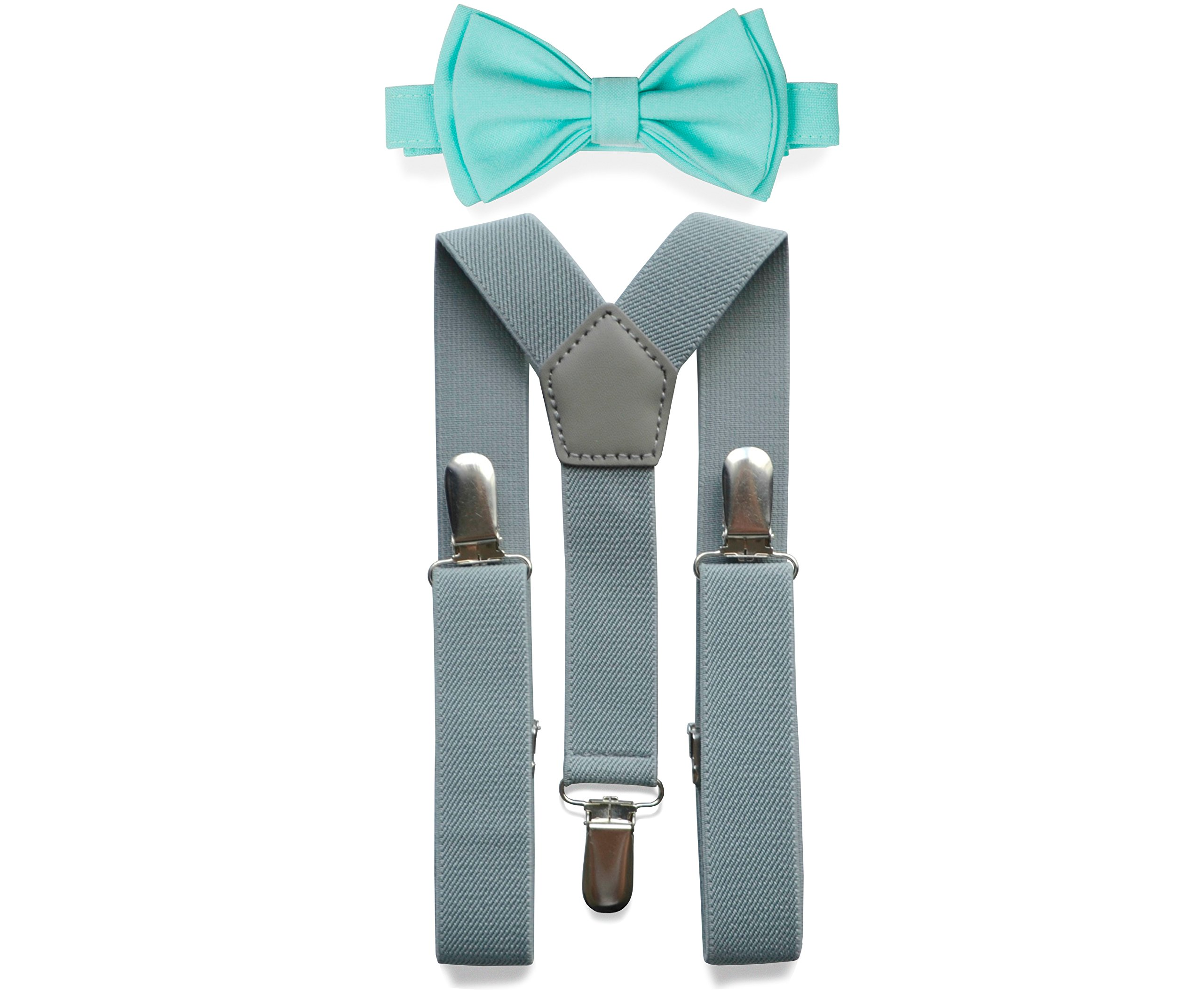 Light Grey Suspenders Bow Tie Set for Baby Toddler Boy Teen Men (1. Baby (6-18 mo), Light Grey Suspenders, Aqua Bow Tie)