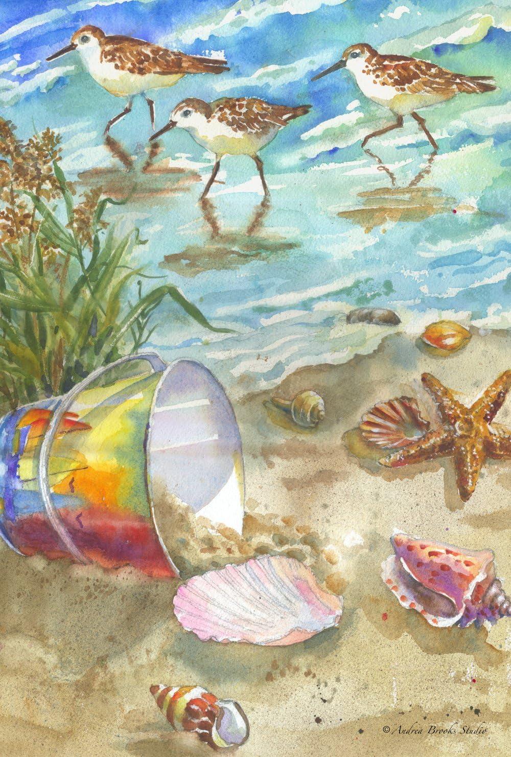 Toland Home Garden Sea Shore Sandpipers 28 x 40 Inch Decorative Summer Ocean Beach Seashell Bird House Flag