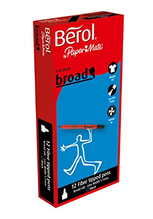 berol colour broad fibre tipped pen black pack of 12 amazon co