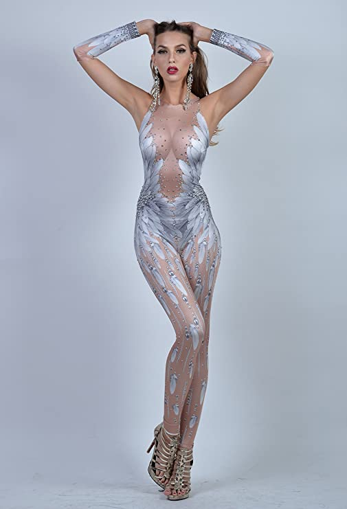 4ea9332bfe8 Amazon.com  Charismatico White Swan 3D Print Feather Rhinestone Sexy  Cleavage Dance Romper Catsuit Jumpsuit Unitard US0-US6  Clothing