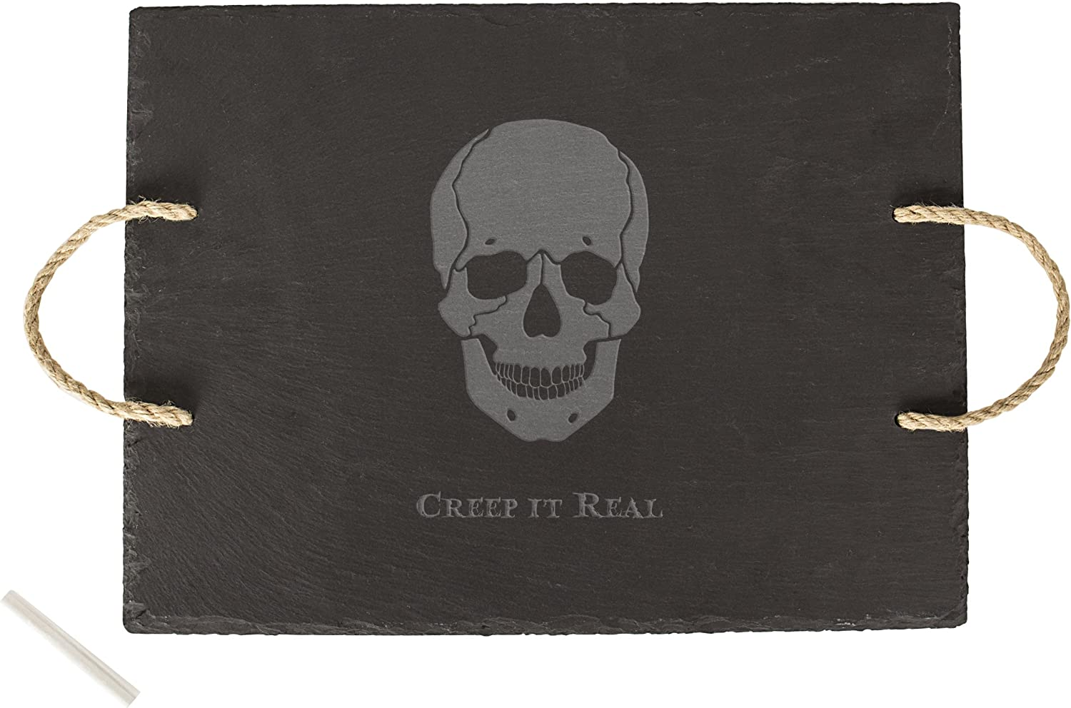 Amazon Com Cathy S Concepts Creep It Real Skull Slate Serving Tray Black Kitchen Dining
