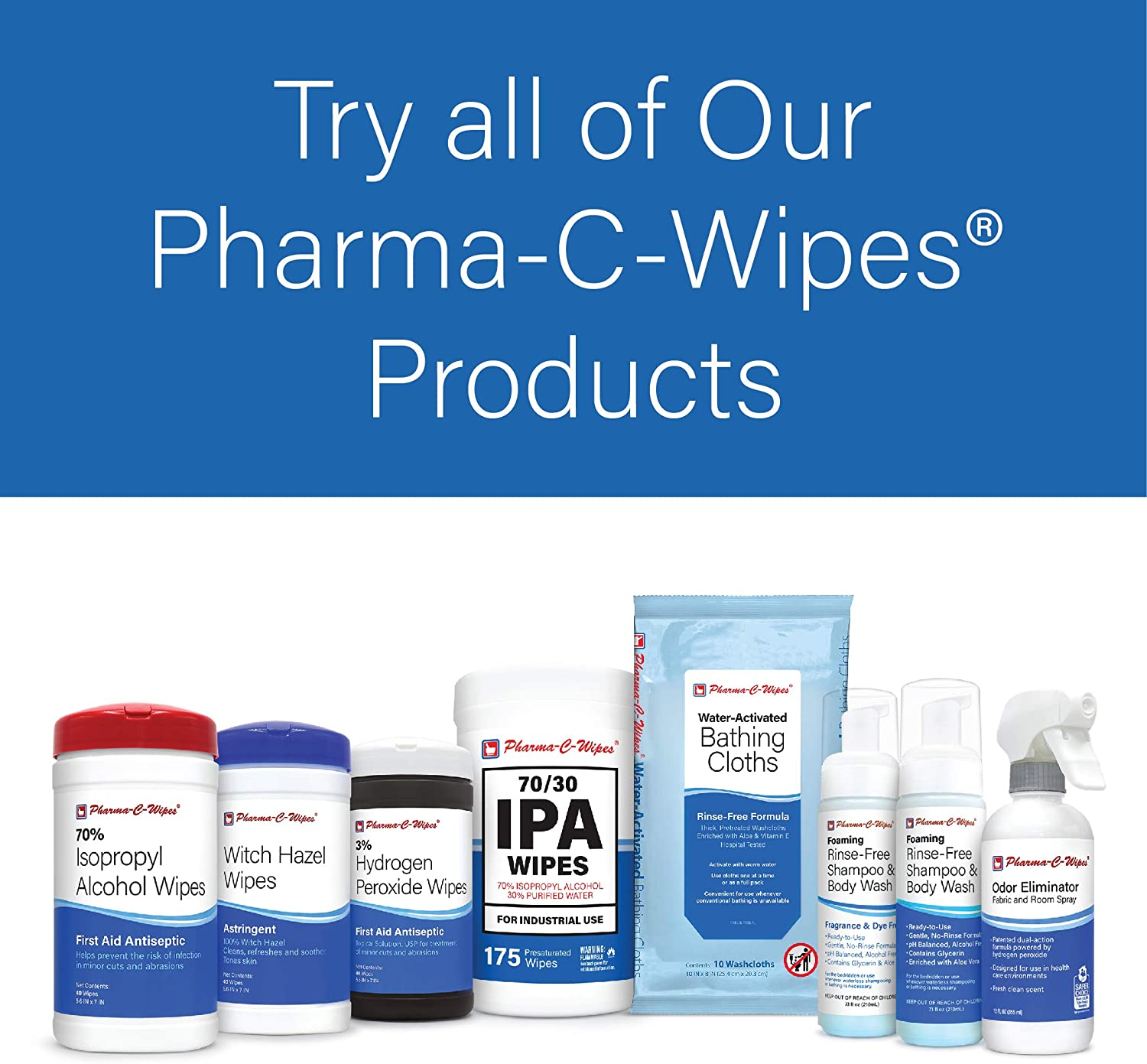 Pharma-C-Wipes Water Activated Bathing Cloths - Rinse Free - Thick, Pretreated Washcloths (6 Packs of 10 Cloths): Health & Personal Care