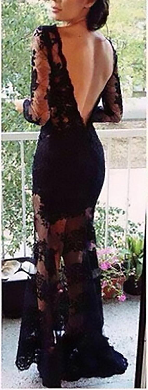 BoBoLily Vestiti Cerimonia Donna Lunghi Elegante Pizzo Trasparente Manica  Lunga Senza Schienale Slim Fit Vintage Moda Cocktail Festa Abiti da Sera  Vestito ... 9f2b6f6a051