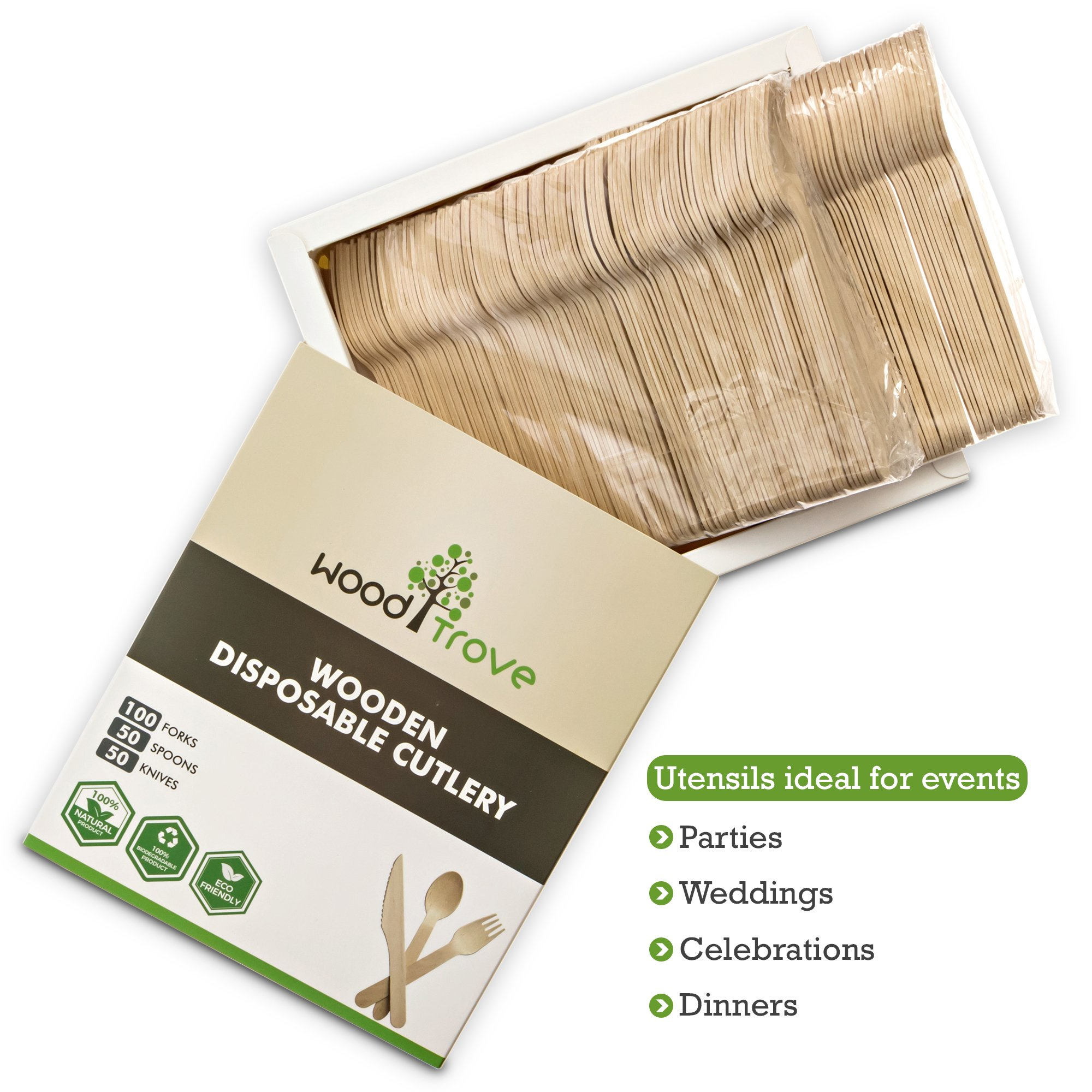 Wooden Disposable Utensils Set 100 Forks 50 Spoons 50 Knives Wood Cutlery Eco Friendly Compostable Biodegradable Silverware Party Flatware Kitchen Serving Eating Picnic Wedding Green Natural Utensil by Wood Trove (Image #4)