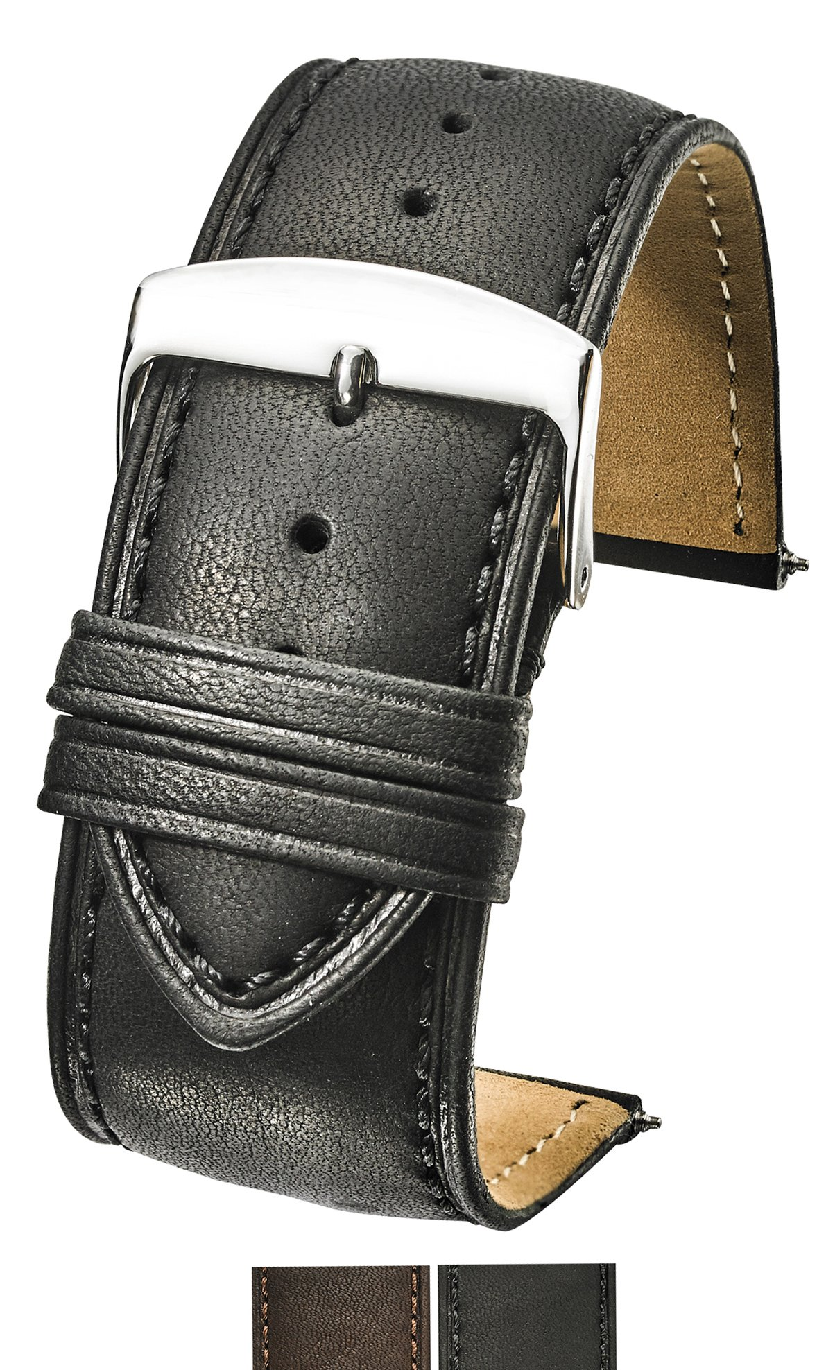 Genuine Leather Watch Band (fits Wrist Sizes 6-7 1/2 inch)- Black - 30mm