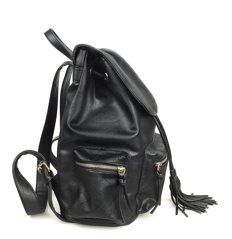 Hoxis Meshed Zipper Pocket Tassel Drawstring Backpack for Women Girl Casual Daypacks